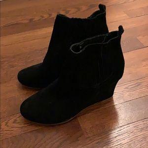 Dolce vita black suede wedge booties